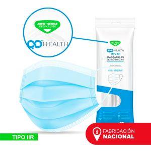 Mascarilla quirúrgica QD HEALTH, Tipo IIR de 3 capas - Fabricación nacional, Filtración 98%
